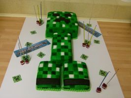 minecraft creeper cake by chairboygazza
