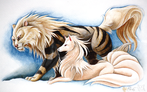 Arcanine and Ninetales by CrimzonLogic