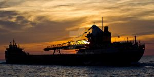 Lake Superior Freighter by smokinjay