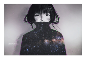 A sad girl and the galaxy inside her. by ririss