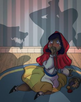 ILL232-Red Riding Hood the Wolf and the Huntswoman by kage-kunoichi