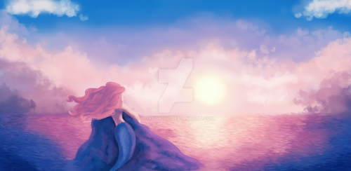 Mermaid and a Pink Sunset by Toyboy566