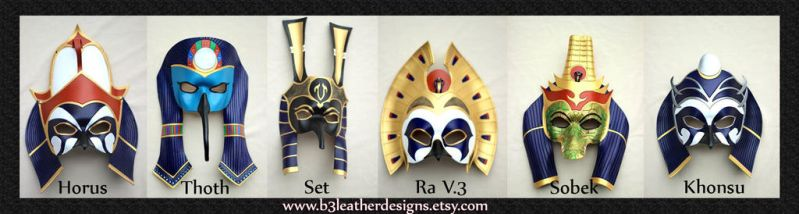 Egyptian Deity Leather Mask Lineup by b3designsllc