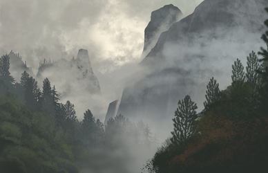 Landscape Speedpaint- Cloudy Mountains by Kyie27