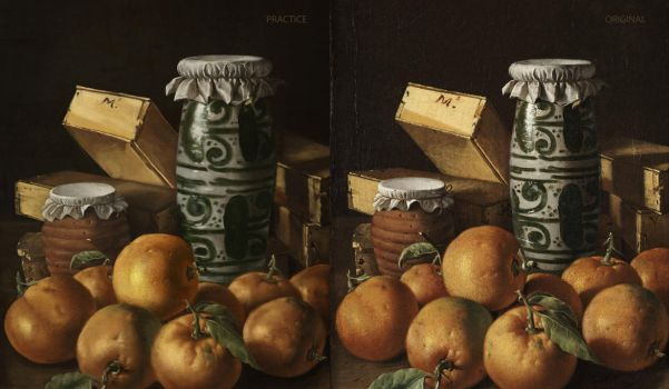 Still life with orange and jars by dude707LoL