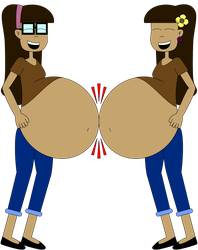 Belinda and Emily belly bump by Angry-Signs