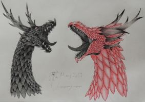 Red and Black Rose~Dragon OC Headshots by Anime-Music-Dragons