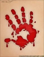 Bloody Handprint Tattoo by hassified