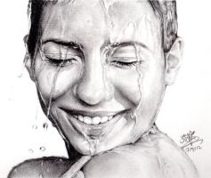 Pencil portrait of girl with wet face by chaseroflight