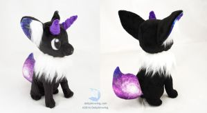 Black Galaxy Horned Fox Plushie by dollphinwing