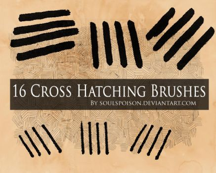 16 Crosshatching Brushes by soulspoison