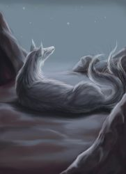 Silver Ninetails by Leashe