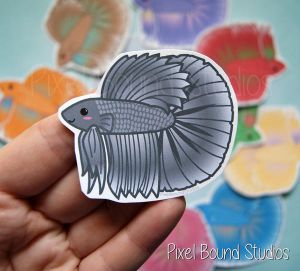 Chibi Halfmoon Betta Stickers and Magnets by pixelboundstudios