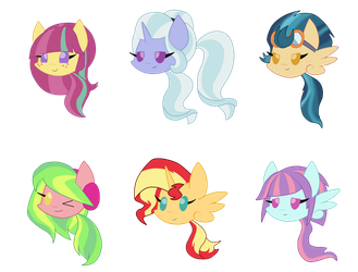 Chibi Ponys .AU Mane Six. by shadcream4eva