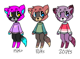 Anthro adopts: 1/3 OPEN by pika-ad0pts