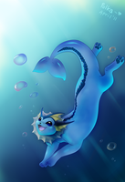 Vaporeon underwater by littlepolka