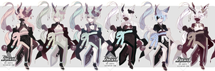 OPEN  Adoptables Auction  Japanese Oni-horn Batch by Rheliant