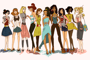 Modern Disney Princesses by Twilight-Kairi