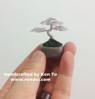 Pink and Silver mame wire bonsai tree by Ken To by KenToArt