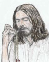 George Harrison doing japa meditation by gagambo