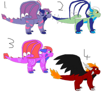 Dragon Adoptables 10 points each -OPEN- by SuperSonicFireDragon