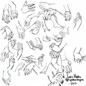 Inktober 2017 - Day-17 - Hand Studies by Spidersaiyan