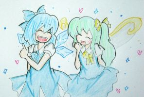 Cirno and Daiyousei by quynhanhnguyendac