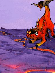 fire lizard with background by Jiinn