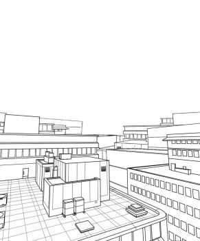 free city back drop lineart by HitoRyu