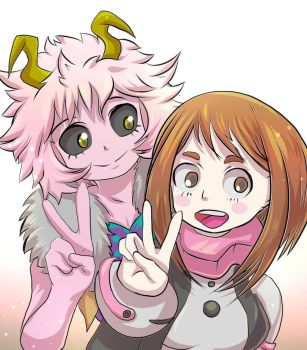 Uraraka and Mina by mogstomp