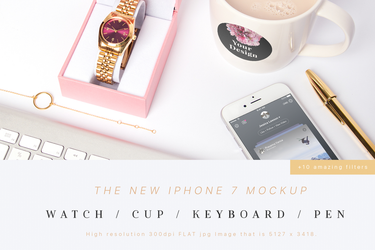 iPhone 7 Mockup (Watch,Cup,Pen) by theanthnonyrich