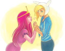 Fiona X Princess Bubblegum Love by Of-Red-And-Blue