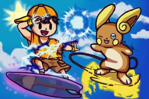 Ness and Alolan Raichu: Surf's Up! by Melomiku