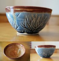 Blue Tree Themed Ceramic Bowl (small) by pixelboundstudios