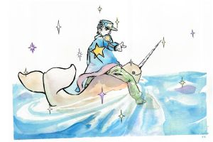 colorful Jotaro on a Narwhal by JOSEPHSK