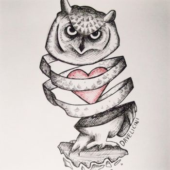 davelicini tattoo owl by Daveliciniart