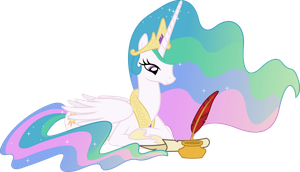 Princess Celestia Penning a Letter by 90Sigma