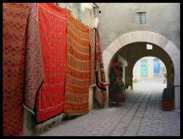 Red Rugs Turquoise Doors by doriano