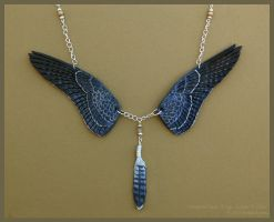 Peregrine Falcon Wings - Leather Necklace by windfalcon
