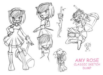 Amy Rose Sketch Dump by whisperelmwood