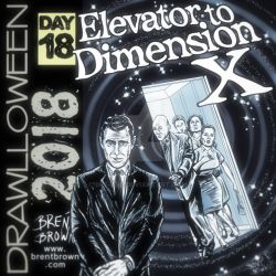 Drawlloween2018-Day-18: Elevator to dimension X by bre-bro