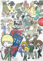 3rd Doctors Chibi Madness by SpazMuse
