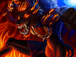 Tharle the Fire Worgen by AmberRam