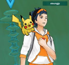 Pokemon Go Trainer and Pikachu by STsung