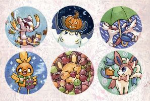 Fall Friends Button Set by owlburrow