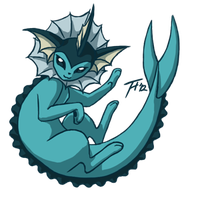 Pokemon Challenge Day 11: Vapore-swim - Water Type by Dembai