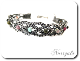 Celtic silver bracelet - braided with Tourmalines by nurrgula