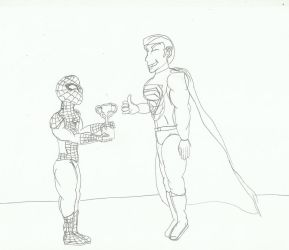 Spider-man, in the DC Universe, accepting an award by SHADOWLOUIX