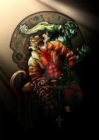Hellboy and Abe commission colored by ozzie325