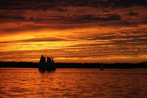 Sailing during the Sunset by Cheryl-P